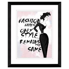 Framed giclee wall art with a fashion sketch and typographic motif.  Product: Framed wall artConstruction Material: ...
