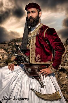 Traditional costume during the times of the Greek War of Independence, early century. Greek Traditional Dress, Traditional Art, Traditional Outfits, Albanian Culture, Greek Culture, Greek Dancing, Greek Independence, Costume Ethnique, Greek Warrior