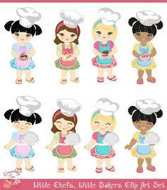 Little Chefs little bakers cake girls Clip Art by 1EverythingNice
