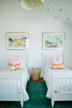 Kids Bedroom For Twin Girls home tour: a crisp, edgy, and eclectic family home   modern girls