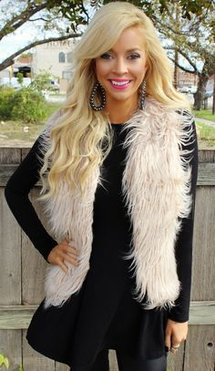 Ivory Glam Fur Vest - The Lace Cactus