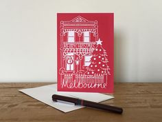 Screen Printed Merry Christmas from Melbourne by VicinityStore