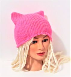 "Pretty ""N Pink Cat Hat, Knit Kitty Cat Beanie, Unique Gifts, Gifts Under 20. by TiStephani on Etsy"