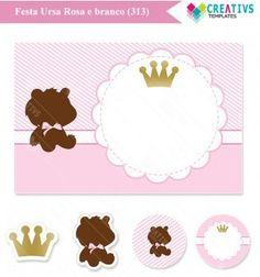 Festa Ursa Rosa e Branco mod:313 Cute Princess bear printable party