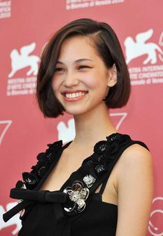 Slightly asymmetrical one-length bob, that's both cute and mature.