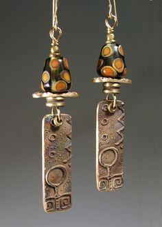Earrings: bronze & lampworked glass