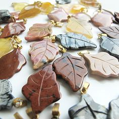 Leaves shape gemstone beads 25mm 10 pieces pendant by FARRAgem