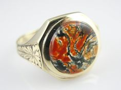 Vintage Mens Ring with Fine Moss Agate Center RGJS127P