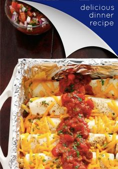 Make delicious and Creamy Chicken Enchiladas with ease at home! Kitchen Tip: Baking sticky foods in a foil-lined pan will help them come out in no time. Use Reynolds Wrap Non-Stick Foil to line your pans.