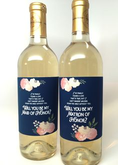 """Navy """"Be My Bridesmaid"""" Gift Label- for Wine Bottles & Candles"""