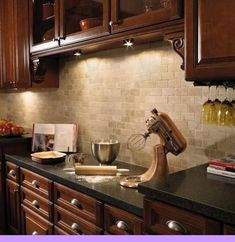 (paid link) This is why it's common to mix and match colors to create a more neutral color forkitchen cabinets. Blending bold color accents, or muted tones of... Cherry Wood Kitchen Cabinets, Kitchen Cabinets And Backsplash, Dark Wood Kitchens, Kitchen Flooring, Kitchen Backsplash, Backsplash Ideas, Dark Cabinets, Kitchen Wood, Kitchen Decor