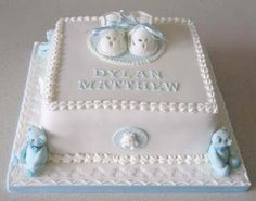 Blue for a Boy Christening Cake