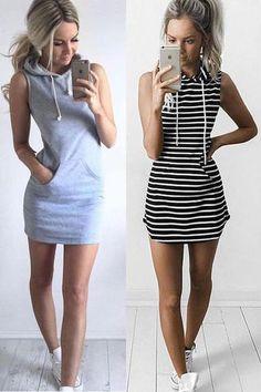 f91748d63bf0 Fashion Women Summer Casual Sleeveless Hoody Dress