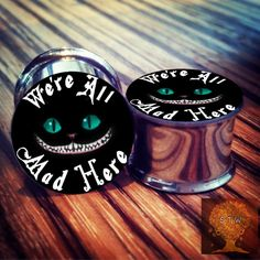 """Cat Jewelry Daddio — - Alice in Wonderland """"We're all mad here"""". Piercing Ring, Body Piercings, Tongue Piercings, Cartilage Piercings, Piercing Ideas, Plugs Earrings, Gauges Plugs, Jewelry Tattoo, Cat Jewelry"""