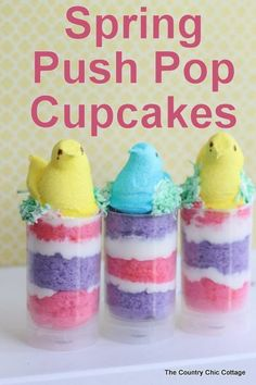 spring push pop cupcakes