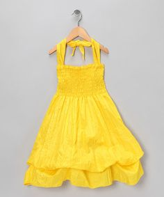 Take a look at this Yellow Shirred Infinity Dress by Infinity for Girls on #zulily today!