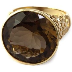 Effy Smoky Quartz Ring in 14 Kt. Rose Gold ($675) ❤ liked on Polyvore featuring jewelry, rings, red gold ring, smoky quartz ring, band rings, smokey quartz ring and filigree jewelry