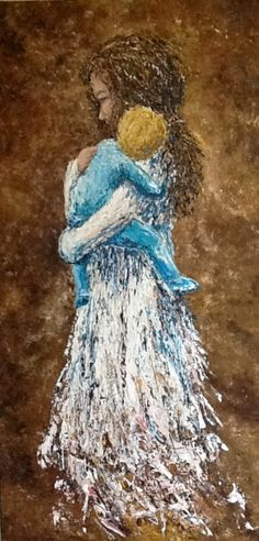 large 24x48 original textured painting of angel, mother, young child, entitled Pure Contentment. via Etsy.