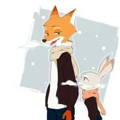 Winter Patrol by とぐぐぐ Source Is it just me, or do you guys associate Zootopia with summer? Disney Zootropolis, Cute Disney, Disney Magic, Nick Wilde, Zootopia Fanart, Zootopia Nick And Judy, Judy Hopps, Disney And Dreamworks, Art Day