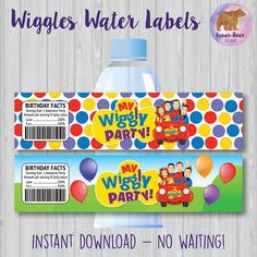 Wiggles Party Wiggles Birthday Party Wiggles Water Bottle