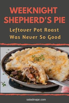 Weeknight Shepherd's Pie is a simple way to use pot roast or roast beef leftovers. Add veggies to beef and gravy. Top with mashed potatoes and bake. Roast Beef Recipes, Lamb Recipes, Cooking Recipes, Tofu Recipes, Recipies, Leftover Potatoes, Mashed Potatoes, Roast Beef With Vegetables, Leftover Roast Beef