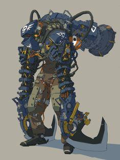 ArtStation - Mech mech post apocalypse, Tae Un Ryu Game Character Design, Fantasy Character Design, Character Design Inspiration, Character Concept, Character Art, Robot Concept Art, Armor Concept, Weapon Concept Art, Robots Characters