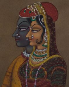 Vintage collection Radha Krishna Painting Kishangarh by KalaCafe, $345.00