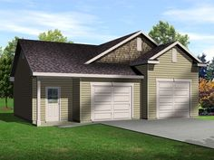 Two car garage with one bay tall enough for an auto lift. This auto lift garage plan also has a bathroom and room for a shop.