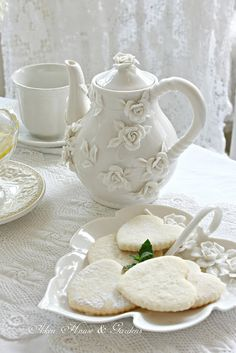 Tea in the Sunroom - White linens and lace, White rose teapot and sugar cookies / Aiken House & Gardens