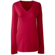 Lands' End Women's Petite Relaxed Supima V-neck T-shirt (730 UYU) ❤ liked on Polyvore featuring tops, t-shirts, red, red tee, red t shirt, petite tee, petite tops and pink top