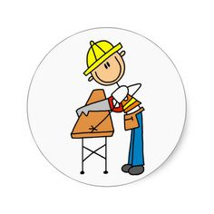 Construction Worker Sawing Board Round Sticker