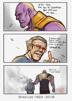Thank you Stan Lee, you shall live in our hearts forever, you are truly an amazing person. - Romy Pinaz - Thank you Stan Lee, you shall live in our hearts forever, you are truly an amazing person. Marvel Jokes, Marvel Comics, Funny Marvel Memes, Dc Memes, Bd Comics, Marvel Heroes, Captain Marvel, Thanos Marvel, Ms Marvel