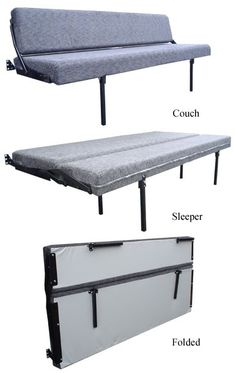 RB Components Folding Sofa Sleeper units is perfect for saving space on weekend getaways. These Newhouse RV folding furniture units are made with the finest materials and quality. Grey cloth cover and black powder-coated frame is standard. Cargo Trailer Conversion, Camper Van Conversion Diy, Cargo Trailers, Camper Trailers, Rv Trailer, Rv Campers, Travel Trailers, Van 4x4, Kangoo Camper
