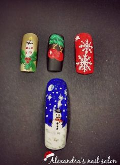 Handpainted Christmas nail art
