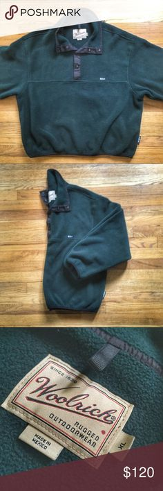 Woolrich Snap-T Fleece Pullover Jacket Woolrich Snap-T Fleece Pullover Jacket.  Size XL.  Pre-owned in excellent condition.  Colors are forest green with black accents.  Get it cheaper on Ⓜ️erc.  View our bio for more info.  See something you like but it's not here next week? We sell in store & across multiple platforms, items go quick. Woolrich Jackets & Coats