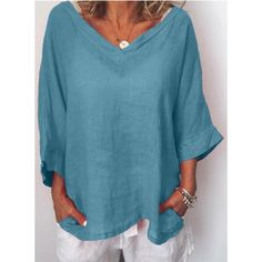 Women V Neck Thin Summer Linen Plus Size Casual Long Sleeve Solid Tops Casual Dresses Plus Size, Plus Size Casual, Plus Size Blouses, Plus Size Tops, New Style Tops, Top Casual, Types Of Sleeves, Blouses For Women, T Shirt