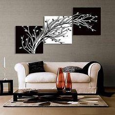 Pintura Al Óleo Moderno Abstracto Pared Decoración Arte Lienzo, Negro Y Blanco (sin Marco)