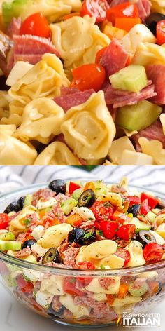 summer recipes Tuscan Tortellini Pasta Salad recipe is bursting with your favorite Italian fixings and on your table in 25 minutes! You can make the salad ahead of time for the perfect stress free potluck side that everyone will love! Best Salad Recipes, Best Italian Recipes, Favorite Recipes, Healthy Recipes, Lunch Recipes, Chip Dip Recipes, Easy Potluck Recipes, Italian Salad Recipes, Mexican Salad Recipes