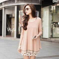 Mock Two-Piece 3/4-Sleeve Dress from #YesStyle <3 PUFII YesStyle.com