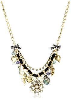 """Betsey Johnson """"Iconic Enchanted Garden"""" Flower Multi-Charm Necklace http://www.endless.com/Betsey-Johnson-Enchanted-Multi-Charm-Necklace/dp/B006IHU9UK/ref=cm_sw_o_pt_dp"""