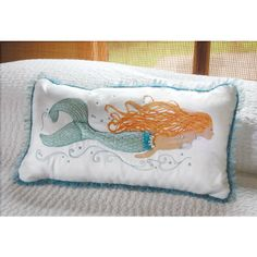 Pearl of the Sea Mermaid Embroidered Pillow - Beach Decor Shop