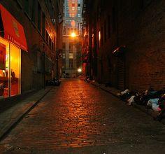 narrow street in lower Manhattan by Alida's Photos, via Flickr