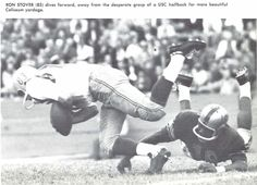 Oregon receiver Ron Stover dives forward vs. USC at the Coliseum in 1957. From the 1958 Oregana (University of Oregon yearbook). www.CampusAttic.com