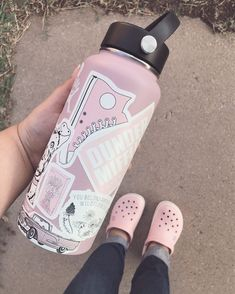 """""""Pink is definitely one of my favorite colors , and yes I wear crocs. #sorrynotsorry #crocs #pinkcrocs #hydroflaskstickers #hydroflask…"""""""