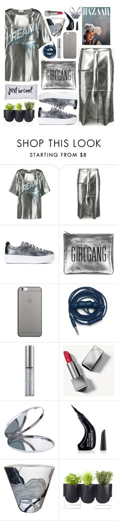 """""""metallic"""" by siwarchihawi ❤ liked on Polyvore featuring Lanvin, Golden Goose, Kenzo, Sarah Baily, Native Union, Urbanears, Urban Decay, Burberry, Miss Selfridge and Authentics"""