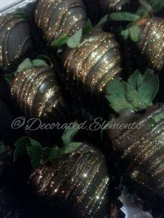Chocolate Covered strawberries sprinkled with edible gold glitter