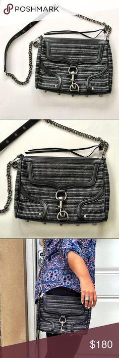 "Rebecca Minkoff Gray Striped Crossbody Bag Rebecca Minkoff Gray&Black striped Crossbody bag. Excellent pre-worn condition. No dustbag. Measures 12""x8"" with a 20"" drop strap. No trades or modeling. Rebecca Minkoff Bags Crossbody Bags"