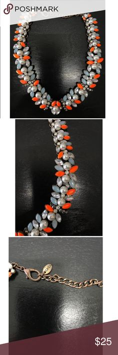 Coral statement necklace with pearls Beautiful necklace, will stand out in summer parties!!! Combination of pearls with coral gems. Zara Jewelry Necklaces