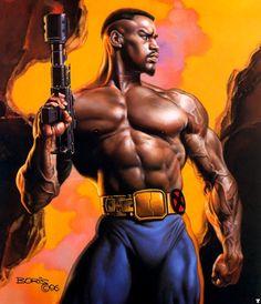 Boris Vallejo - Marvel Comics - X-Men - Bishop vallejo Boris Vallejo – Marvel Comics – X-Men – Bishop Black Characters, Comic Book Characters, Comic Book Heroes, Marvel Characters, Comic Character, Comic Books Art, Comic Art, Character Design, Boris Vallejo