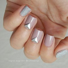 Nude and sliver nails